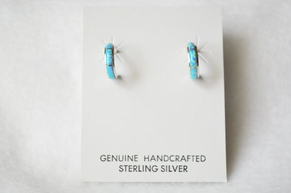 Sterling silver blue opal inlay small hoop post earrings. E266