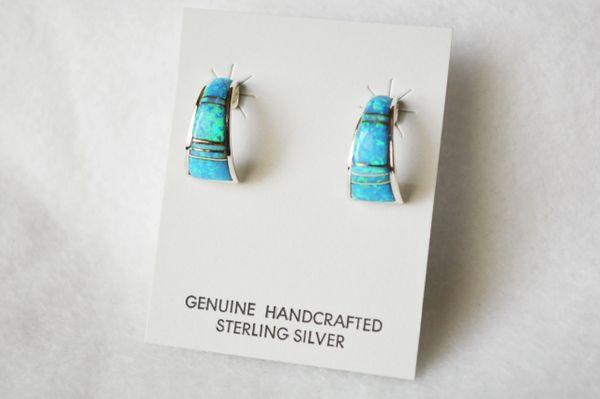 Sterling silver blue opal inlay medium/wide hoop post earrings. E267