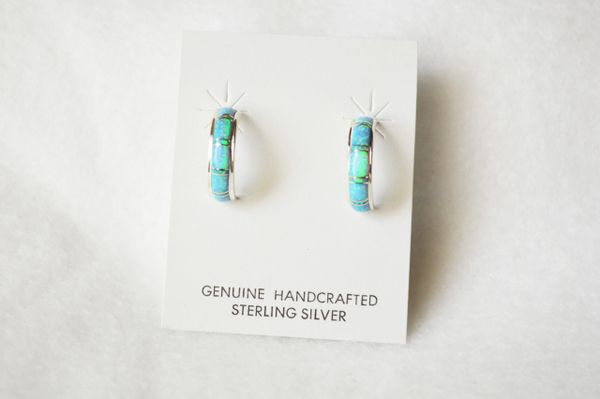 Sterling silver blue opal inlay medium 1/2 hoop post earrings. E269