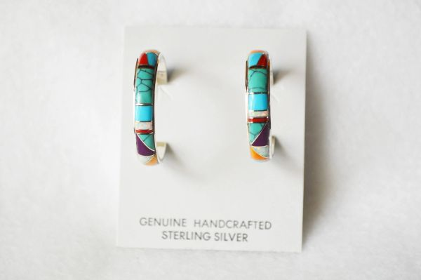 Sterling silver multi color large hoop post earrings. E274