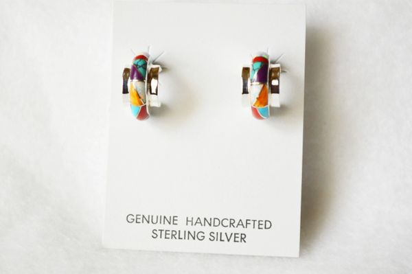 Sterling silver multi color inlay small hoop post earrings. E279