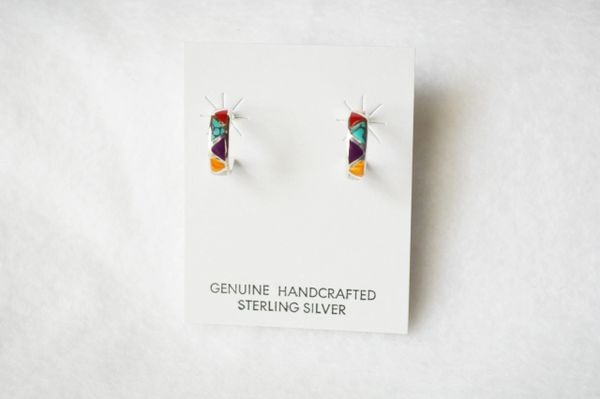 Sterling silver multi color inlay small hoop post earrings. E281