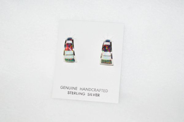 Sterling silver black and white opal inlay medium/wide hoop post earrings. E282