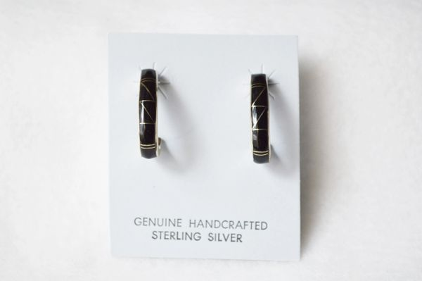 Sterling silver black onyx inlay medium 3/4 hoop post earrings. E284