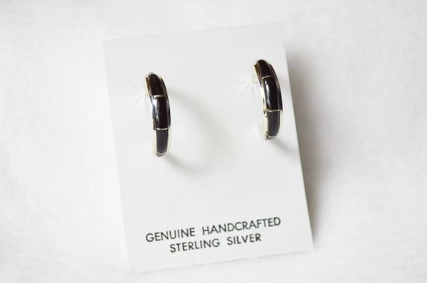 Sterling silver black onyx inlay medium tapered hoop post earrings. E285