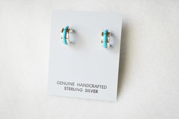 Sterling silver turquoise inlay small/wide hoop post earrings. E297