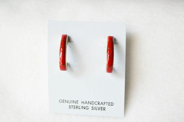 Sterling silver coral inlay medium 3/4 hoop post earrings. E301