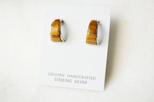 Sterling silver tiger eye inlay medium/wider hoop post earrings. E304