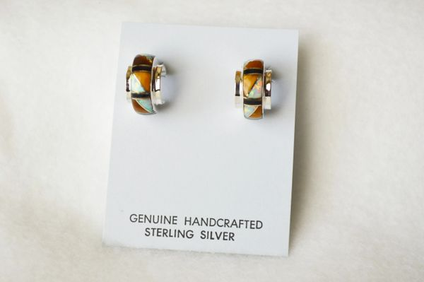 Sterling silver white opal, tiger eye and black onyx inlay small/wide hoop post earrings. E310