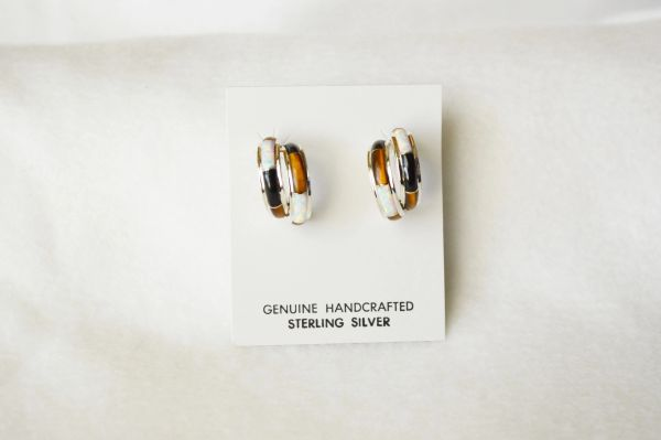 Sterling silver white opal, tiger eye and black onyx inlay medium double hoop post earrings. E312