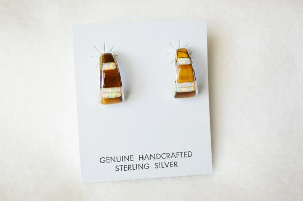 Sterling silver white opal and tiger eye inlay medium/wider hoop post earrings. E314