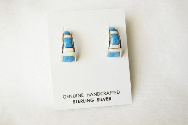 Sterling silver white opal and denim lapis inlay medium/wider hoop post earrings. E317