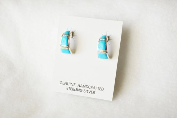 Sterling silver white opal and turquoise inlay medium/wider hoop post earrings. E320