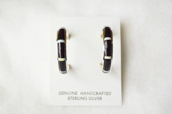 Sterling silver black onyx and white opal inlay large hoop post earrings. E328