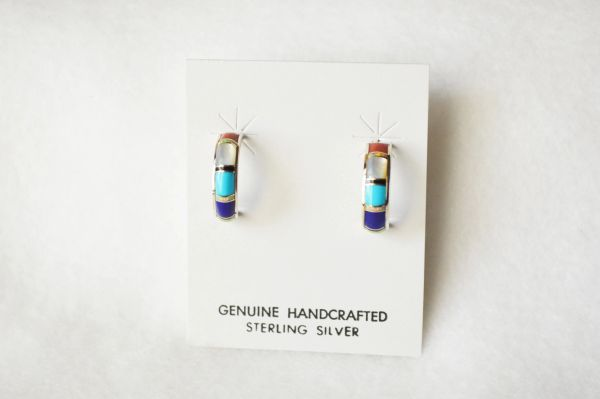 Sterling silver multi color inlay medium hoop post earrings. E330
