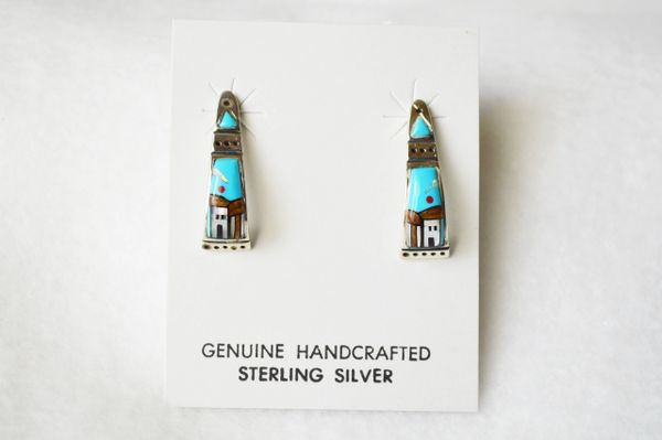 Sterling silver multi color adobe inlay turquoise/coral moon post earrings. E332