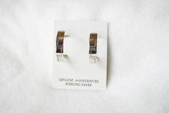 Sterling silver large hoop post earrings. E341