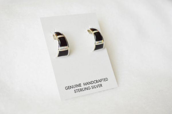 Sterling silver black onyx and white opal inlay medium hoop post earrings. E345