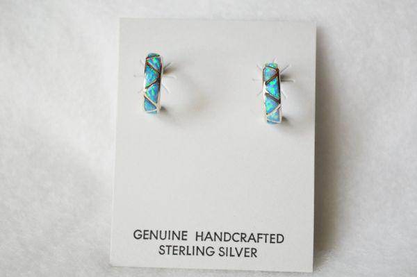 Sterling silver blue opal inlay hoop post earrings. E220