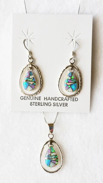 "Sterling silver multi color opal inlay teardrop in hoop dangle earrings and 18"" sterling silver box chain necklace set. S002"