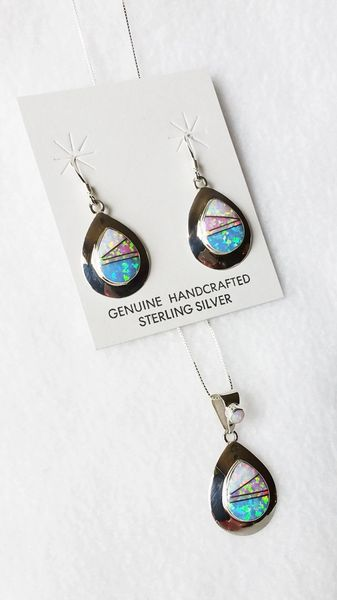 "Sterling silver white, pink and blue opal inlay teardrop dangle earrings and 18"" sterling silver box chain necklace set. S006"