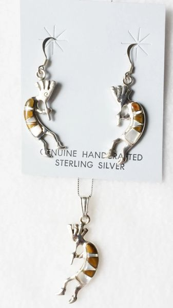 "Sterling silver white opal, black onyx and tiger eye inlay kokopelli dangle earrings and 18"" sterling silver box chain necklace set. S012"