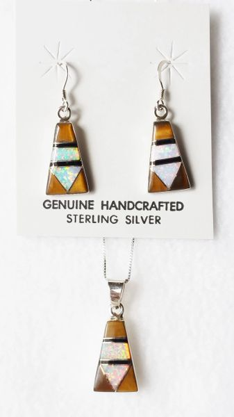 "Sterling silver white opal, black onyx and tiger eye inlay pillar dangle earrings and 18"" sterling silver box chain necklace set. S013"