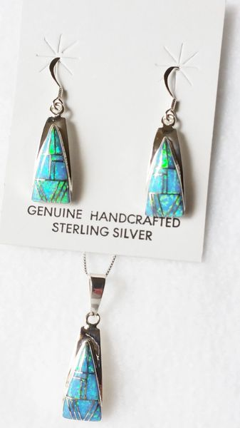 "Sterling silver blue opal inlay triangle dangle earrings and 18"" sterling silver box chain necklace set. S015"