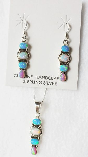 "Sterling silver blue, white and pink opal inlay 4 oval dangle earrings and 18"" sterling silver box chain necklace set. S019"