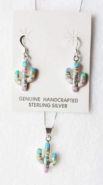 "Sterling silver blue, white and pink opal inlay cactus dangle earrings and 18"" sterling silver box chain necklace set. S020"