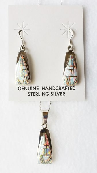 "Sterling silver white opal inlay triangle dangle earrings and 18"" sterling silver box chain necklace set. S023"
