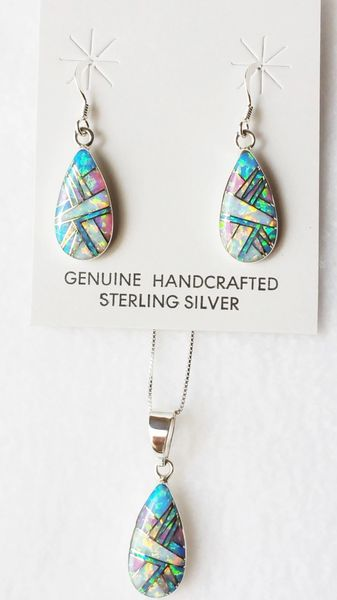 "Sterling silver blue, white and pink opal inlay teardrop dangle earrings and 18"" sterling silver box chain necklace set. S029"
