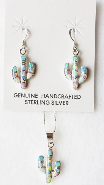 "Sterling silver blue, white and pink opal inlay cactus dangle earrings and 18"" sterling silver box chain necklace set. S030"