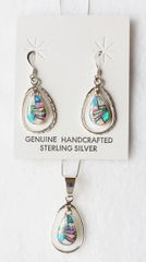 """Sterling silver blue, white and pink opal inlay egg in a hoop dangle earrings and 18"""" sterling silver box chain necklace set. S034"""