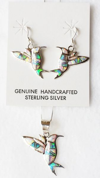 """Sterling silver blue, white and pink opal inlay hummingbird dangle earrings and 18"""" sterling silver box chain necklace set. S035"""