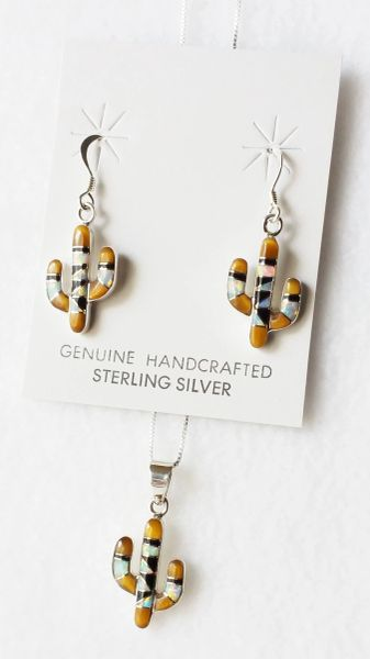 "Sterling silver white opal, tiger eye and black onyx inlay cactus dangle earrings and 18"" sterling silver box chain necklace set. S041"