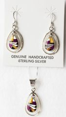 """Sterling silver multi color inlay raindrop in hoop dangle earrings and 18"""" sterling silver box chain necklace set. S046"""