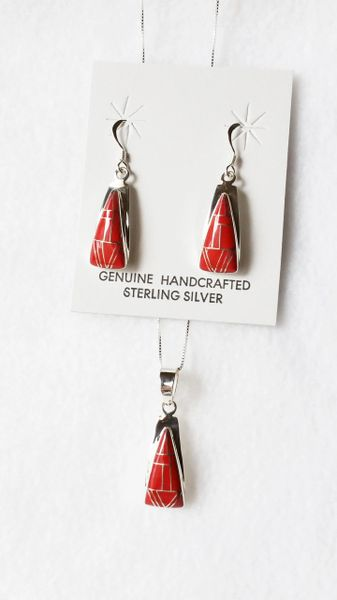 """Sterling silver coral inlay triangle dangle earrings and 18"""" sterling silver box chain necklace set. S051"""
