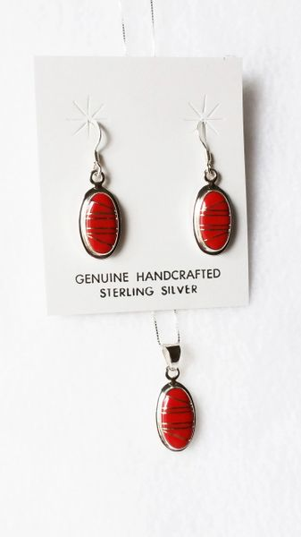 "Sterling silver coral inlay oval dangle earrings and 18"" sterling silver box chain necklace set. S052"