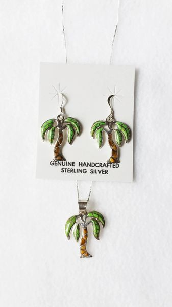 "Sterling silver gaspeite and tiger eye inlay palm tree dangle earrings and 18"" sterling silver box chain necklace set. S063"