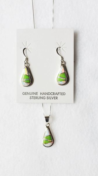 """Sterling silver gaspeite and opal inlay raindrop dangle earrings and 18"""" sterling silver box chain necklace set. S064"""