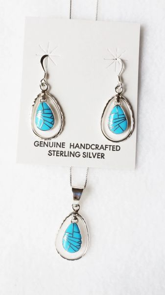 "Sterling silver turquoise inlay egg in a hoop dangle earrings and 18"" sterling silver box chain necklace set. S072"