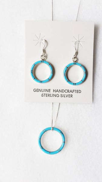 """Sterling silver turquoise inlay hoop dangle earrings and 18"""" sterling silver box chain necklace set. S073"""