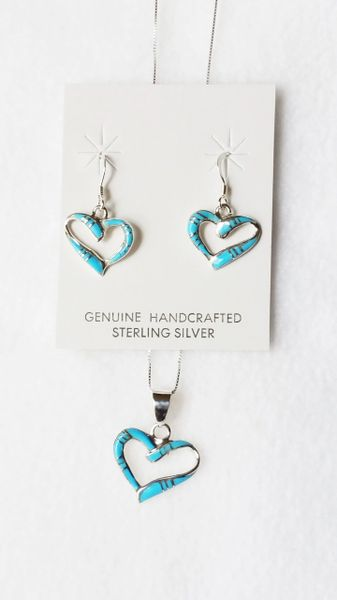 "Sterling silver turquoise inlay heart dangle earrings and 18"" sterling silver box chain necklace set. S076"