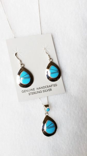 """Sterling silver turquoise inlay teardrop dangle earrings and 18"""" sterling silver box chain necklace set. S077"""