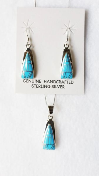 "Sterling silver turquoise inlay triangle dangle earrings and 18"" sterling silver box chain necklace set. S079"