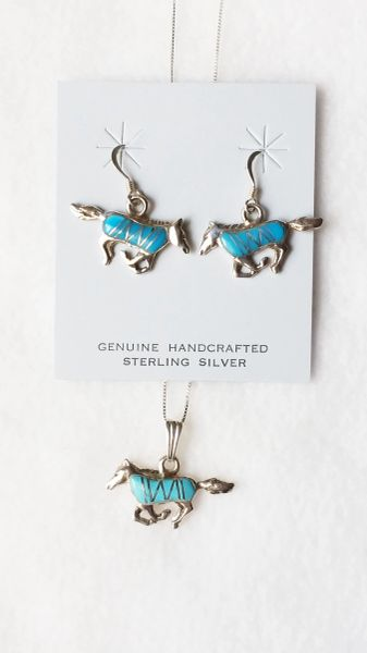 """Sterling silver turquoise inlay wild horse dangle earrings and 18"""" sterling silver box chain necklace set. S088"""