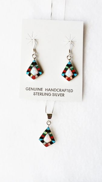 "Sterling silver multi color and white opal inlay diamond shape dangle earrings and 18"" sterling silver box chain necklace set. S092"