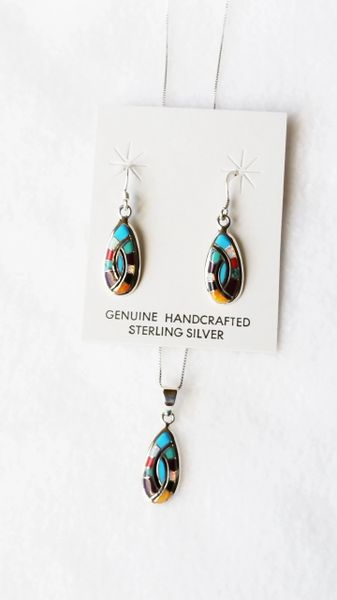 """Sterling silver multi color inlay oval dangle earrings and 18"""" sterling silver box chain necklace set. S095"""