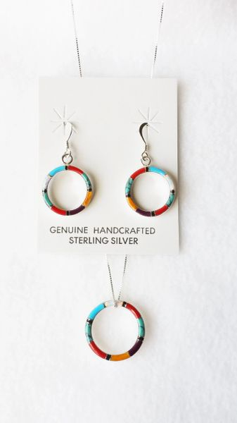 """Sterling silver multi color inlay w/opal oval dangle earrings and 18"""" sterling silver box chain necklace set. S107"""
